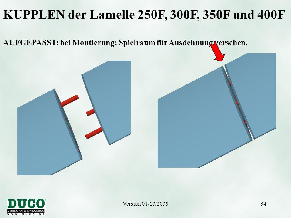 KUPPLEN der Lamelle 250F, 300F, 350F und 400F