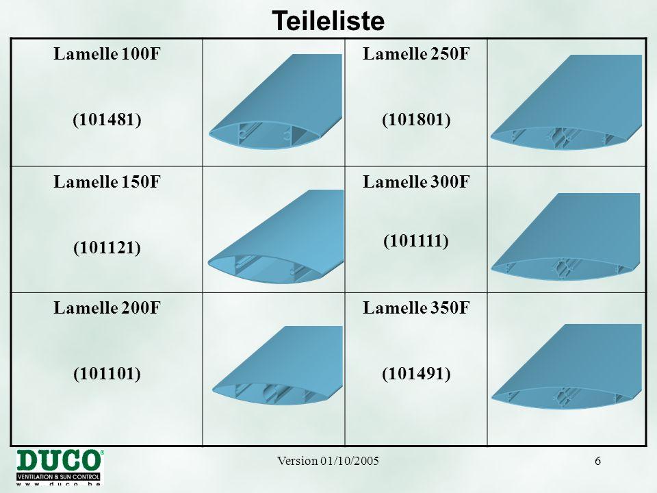 Teileliste Lamelle 100F (101481) Lamelle 250F (101801) Lamelle 150F
