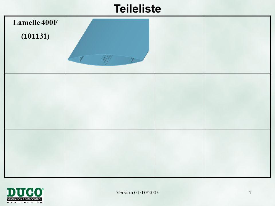 Teileliste Lamelle 400F (101131) Version 01/10/2005