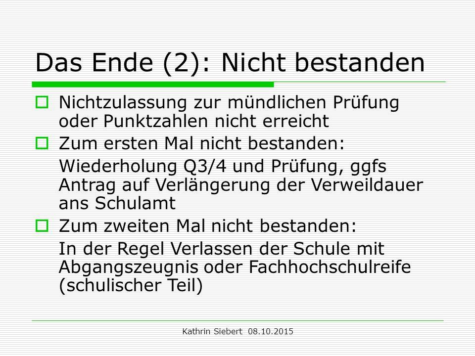 Das Ende (2): Nicht bestanden