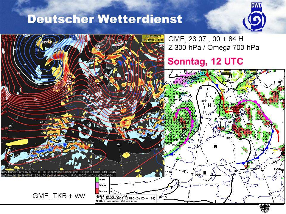 Sonntag, 12 UTC GME, 23.07., 00 + 84 H Z 300 hPa / Omega 700 hPa