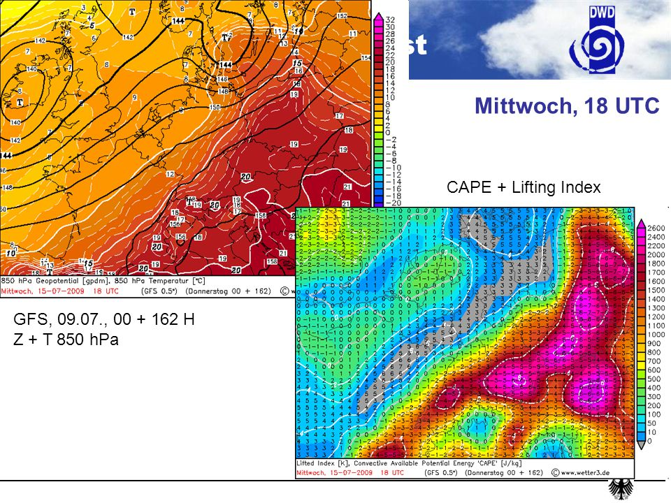 Mittwoch, 18 UTC CAPE + Lifting Index GFS, 09.07., 00 + 162 H