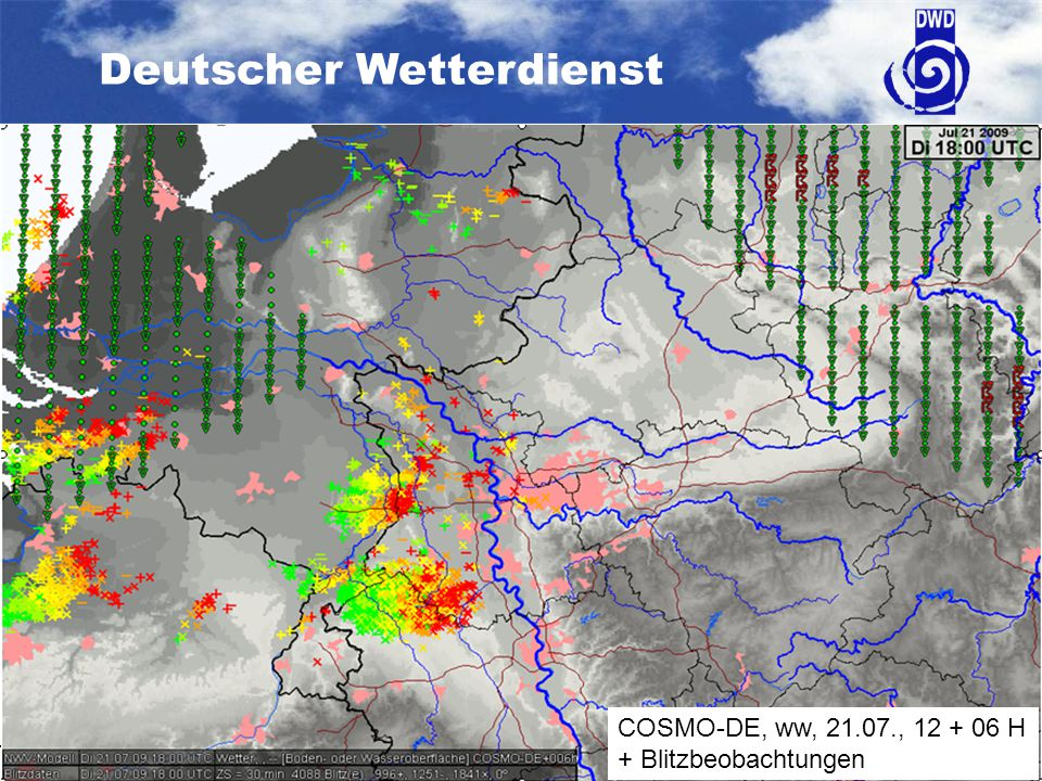 COSMO-DE, ww, 21.07., 12 + 06 H + Blitzbeobachtungen
