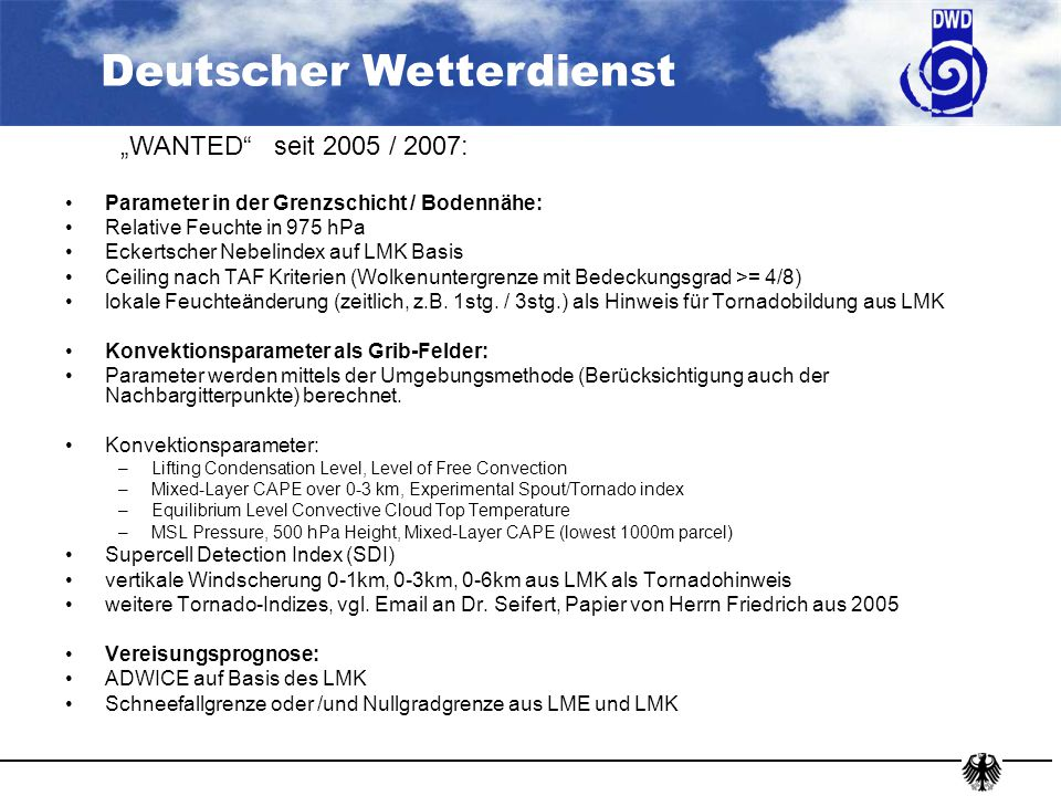 """WANTED seit 2005 / 2007: Parameter in der Grenzschicht / Bodennähe:"