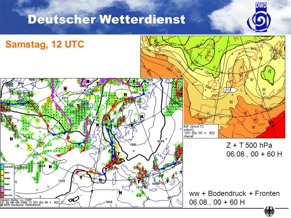 Samstag, 12 UTC ww + Bodendruck + Fronten 06.08., 00 + 60 H Z + T 500 hPa 06.08., 00 + 60 H