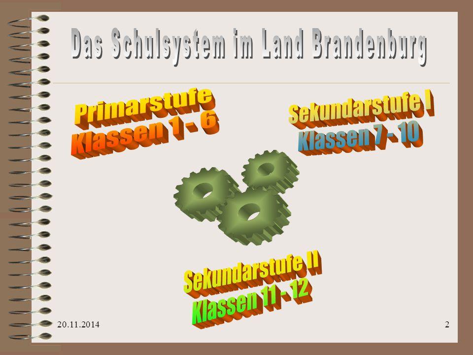 Das Schulsystem im Land Brandenburg