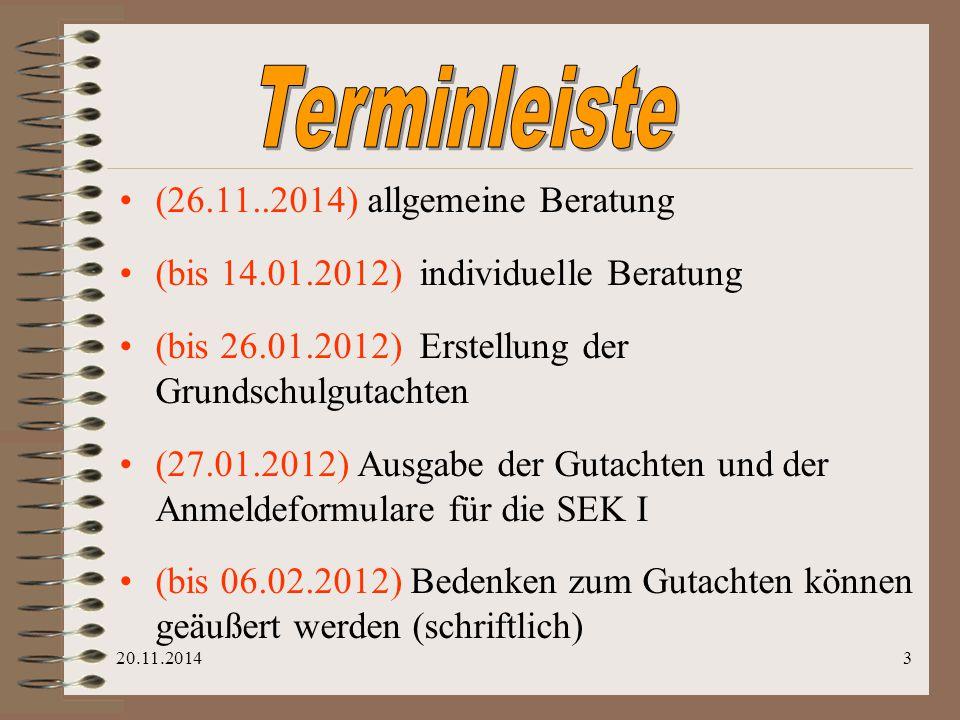 Terminleiste (26.11..2014) allgemeine Beratung
