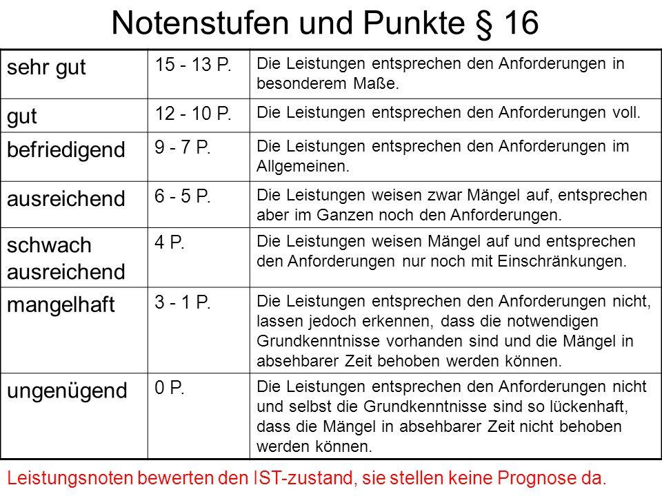 Notenstufen und Punkte § 16