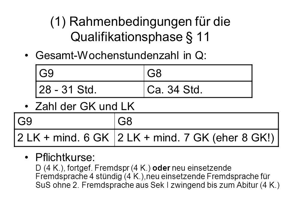 (1) Rahmenbedingungen für die Qualifikationsphase § 11