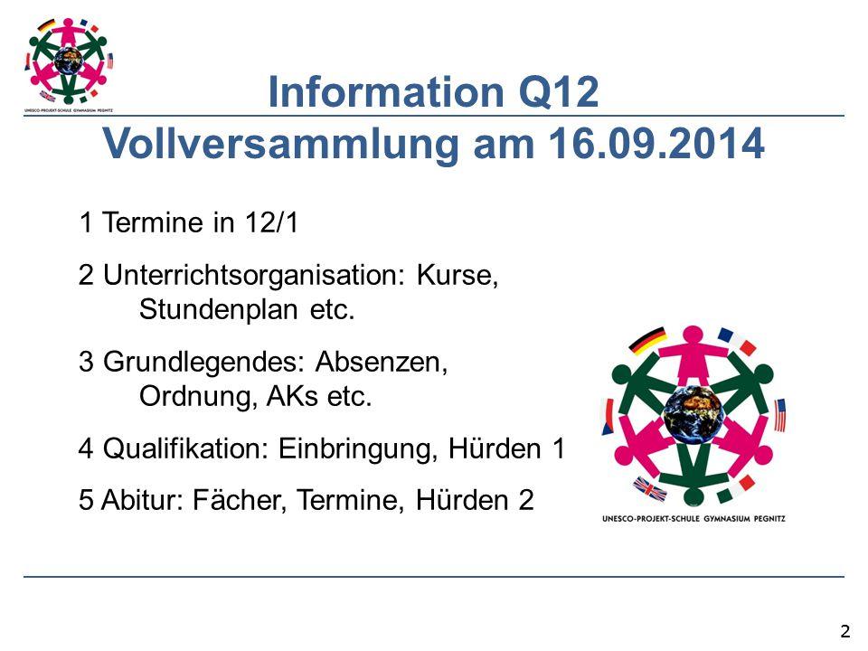 Information Q12 Vollversammlung am 16.09.2014