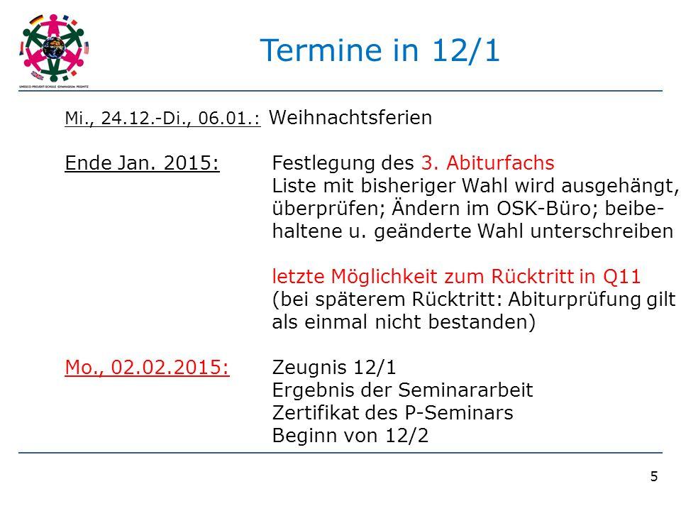 Termine in 12/1 Ende Jan. 2015: Festlegung des 3. Abiturfachs