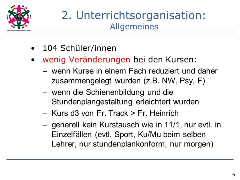 2. Unterrichtsorganisation: Allgemeines