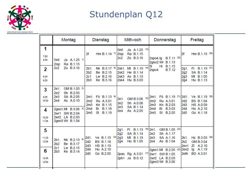 Stundenplan Q12