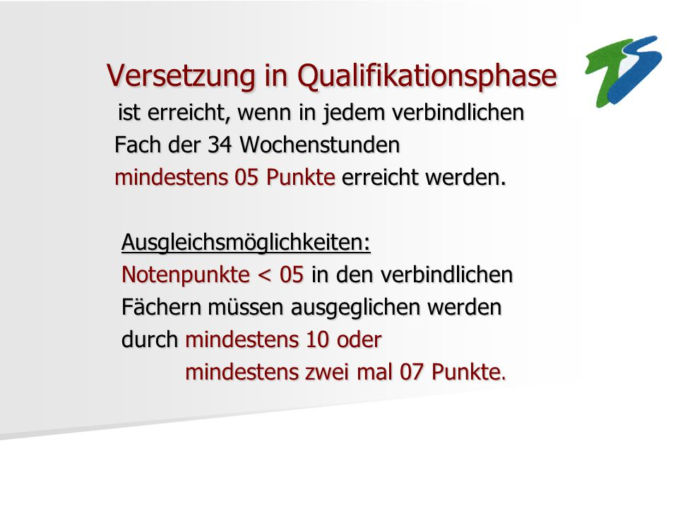 Versetzung in Qualifikationsphase