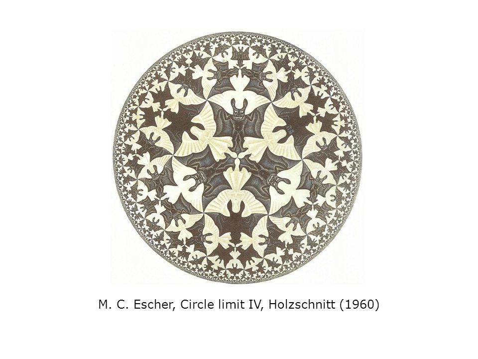 M. C. Escher, Circle limit IV, Holzschnitt (1960)