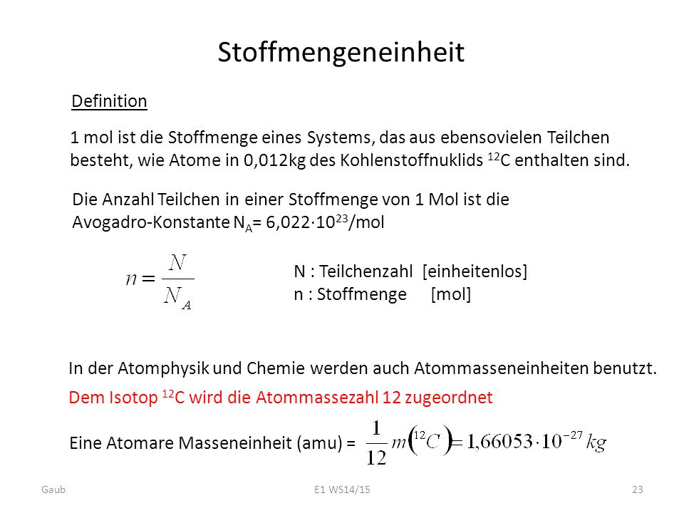 Stoffmengeneinheit Definition