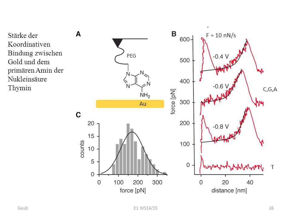 F ≈ 10 nN/s . PEG. Stärke der Koordinativen Bindung zwischen Gold und dem primären Amin der Nukleinsäure Thymin.