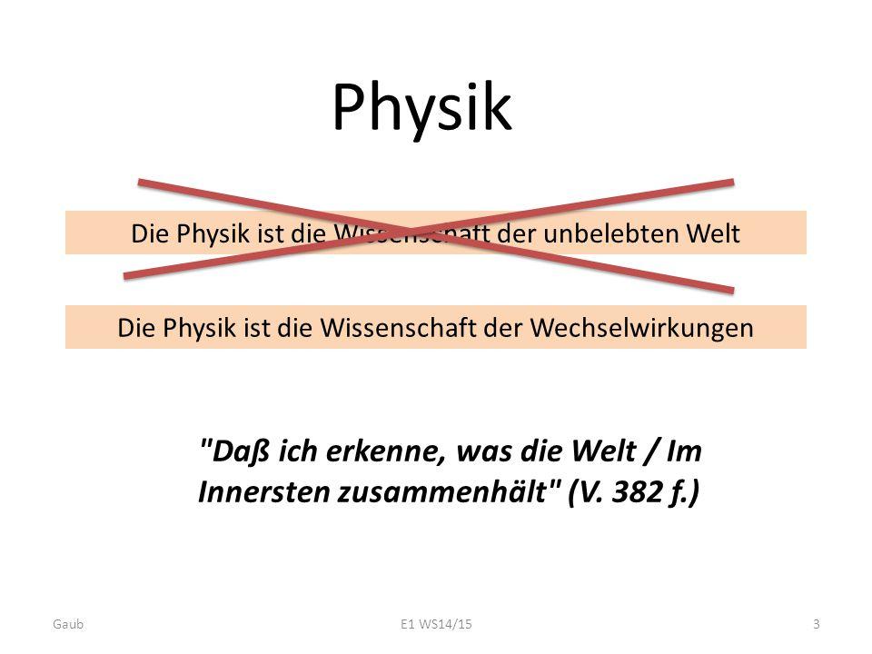 Physik Die Physik ist die Wissenschaft der unbelebten Welt. Die Physik ist die Wissenschaft der Wechselwirkungen.