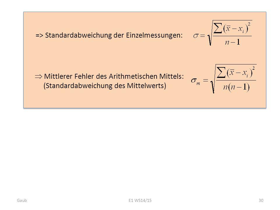 => Standardabweichung der Einzelmessungen: