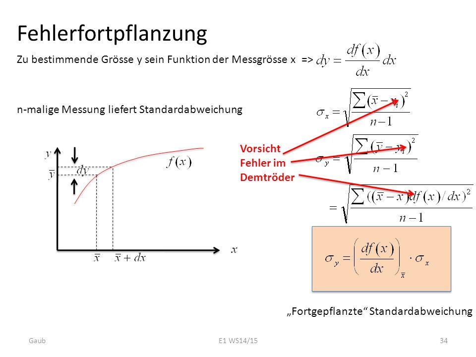 Fehlerfortpflanzung Zu bestimmende Grösse y sein Funktion der Messgrösse x => n-malige Messung liefert Standardabweichung.