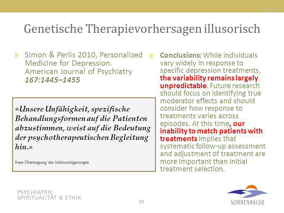 Genetische Therapievorhersagen illusorisch