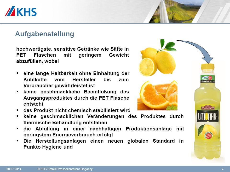 Aufgabenstellung hochwertigste, sensitive Getränke wie Säfte in PET Flaschen mit geringem Gewicht abzufüllen, wobei.