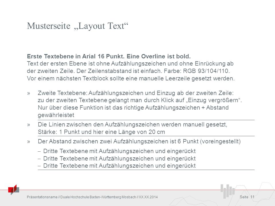 "Musterseite ""Layout Text"
