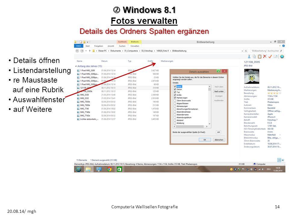  Windows 8.1 Fotos verwalten Details des Ordners Spalten ergänzen