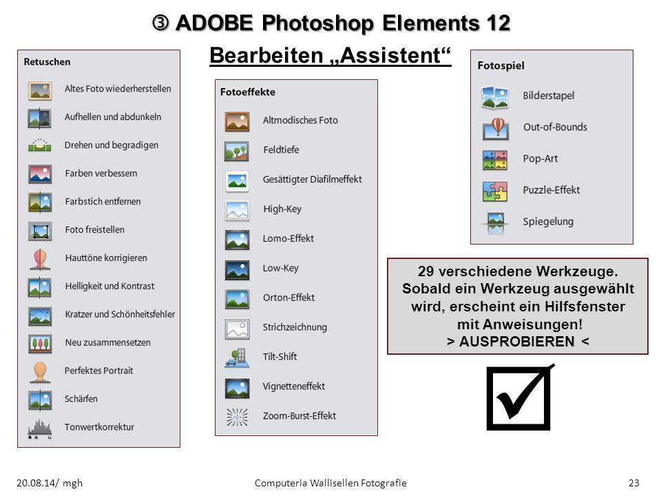 " ADOBE Photoshop Elements 12 Bearbeiten ""Assistent"