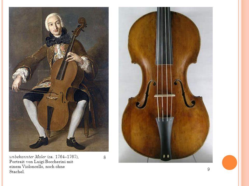 unbekannter Maler (ca. 1764–1767), Portrait von Luigi Boccherini mit einem Violoncello, noch ohne Stachel.