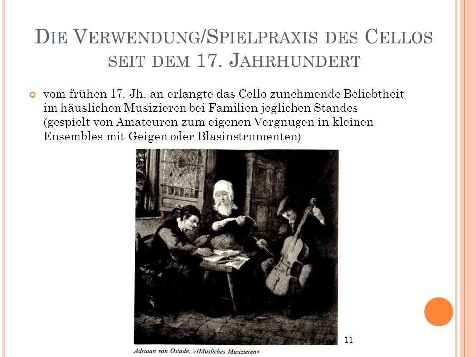 Die Verwendung/Spielpraxis des Cellos seit dem 17. Jahrhundert