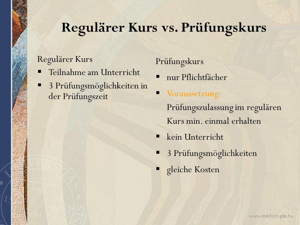 Regulärer Kurs vs. Prüfungskurs