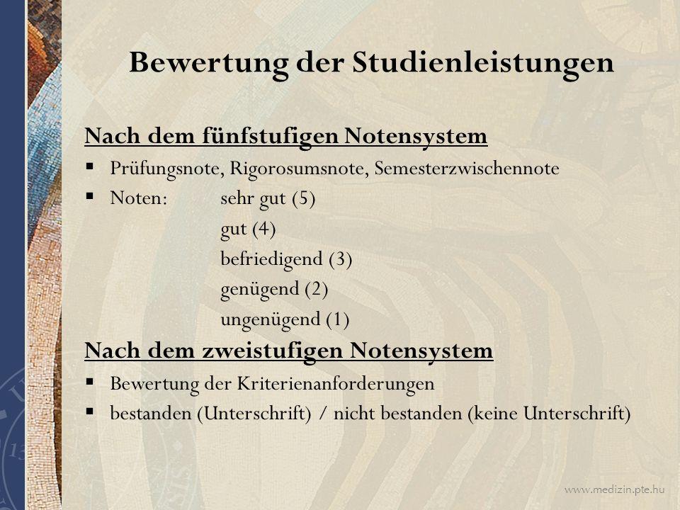 Bewertung der Studienleistungen
