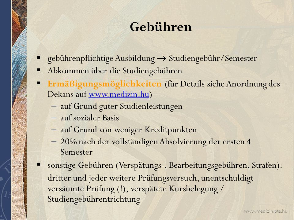 Gebühren gebührenpflichtige Ausbildung  Studiengebühr/Semester