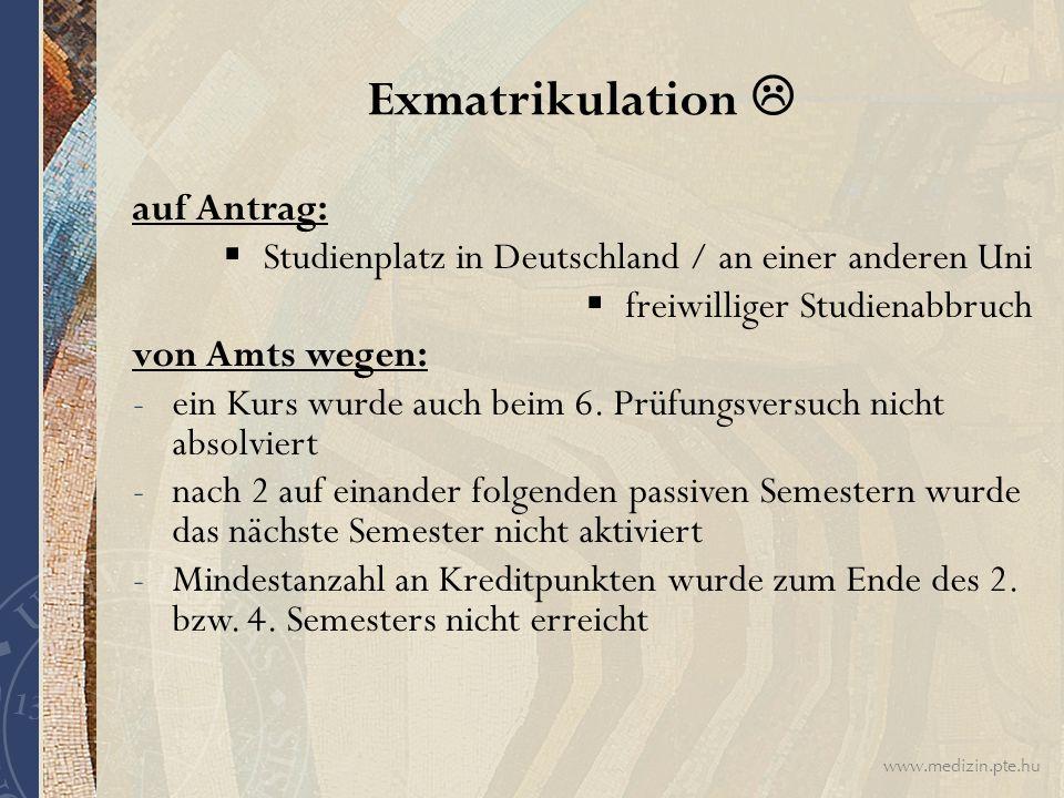 Exmatrikulation  auf Antrag: