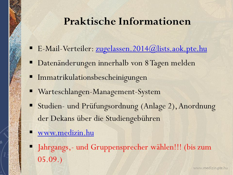 Praktische Informationen