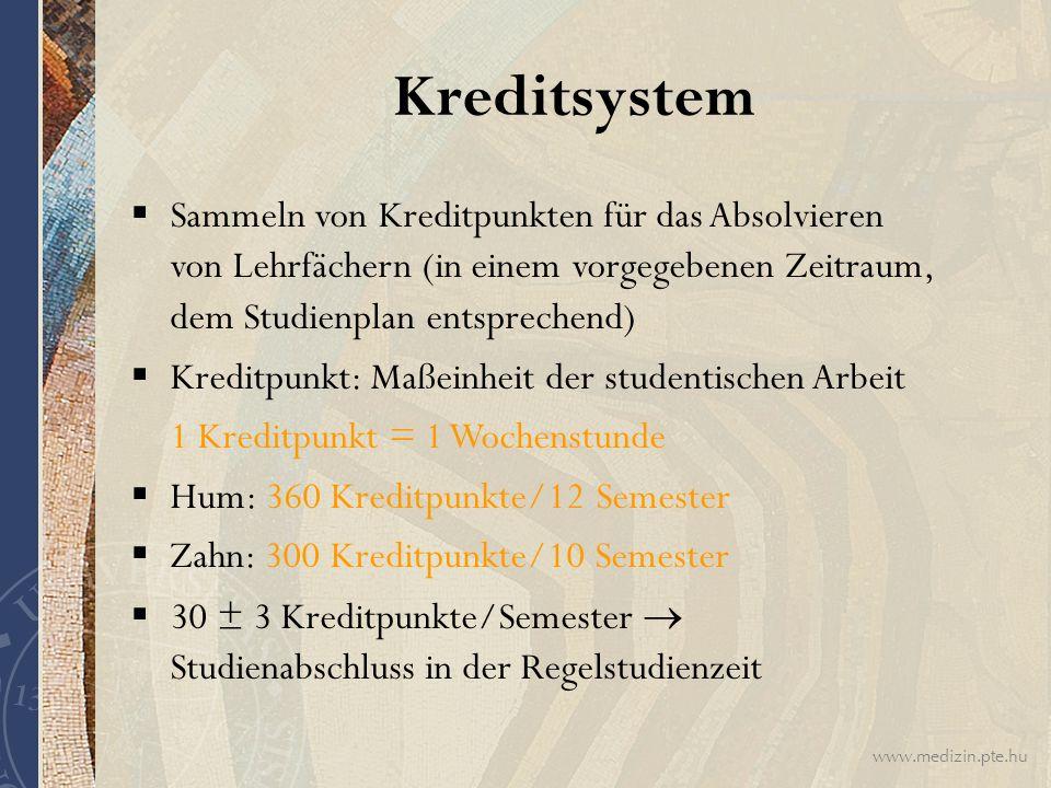 Kreditsystem Sammeln von Kreditpunkten für das Absolvieren von Lehrfächern (in einem vorgegebenen Zeitraum, dem Studienplan entsprechend)