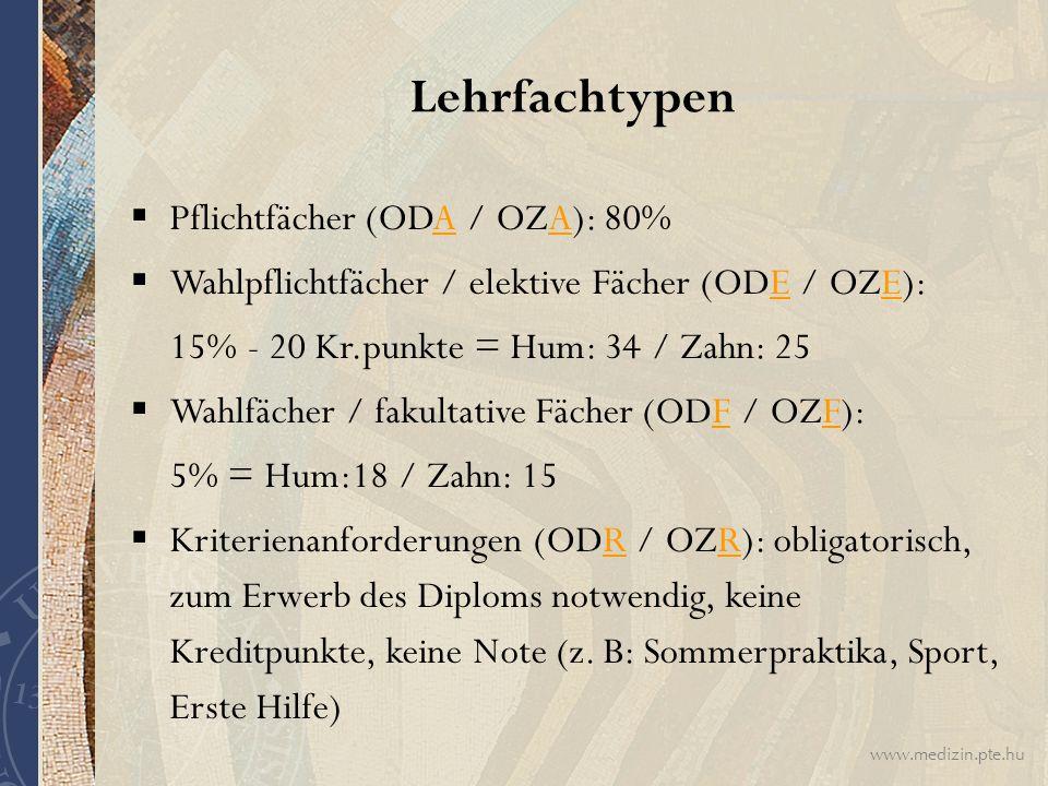 Lehrfachtypen Pflichtfächer (ODA / OZA): 80%
