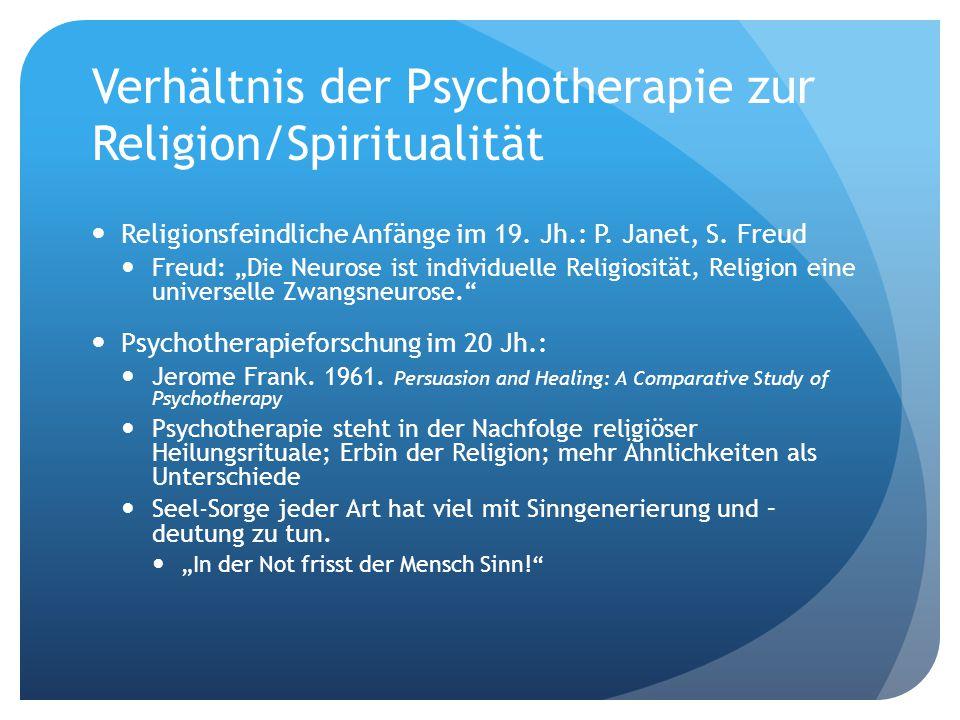 Verhältnis der Psychotherapie zur Religion/Spiritualität