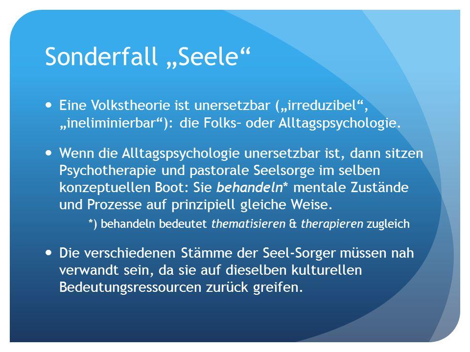 """Sonderfall """"Seele Eine Volkstheorie ist unersetzbar (""""irreduzibel , """"ineliminierbar ): die Folks– oder Alltagspsychologie."""