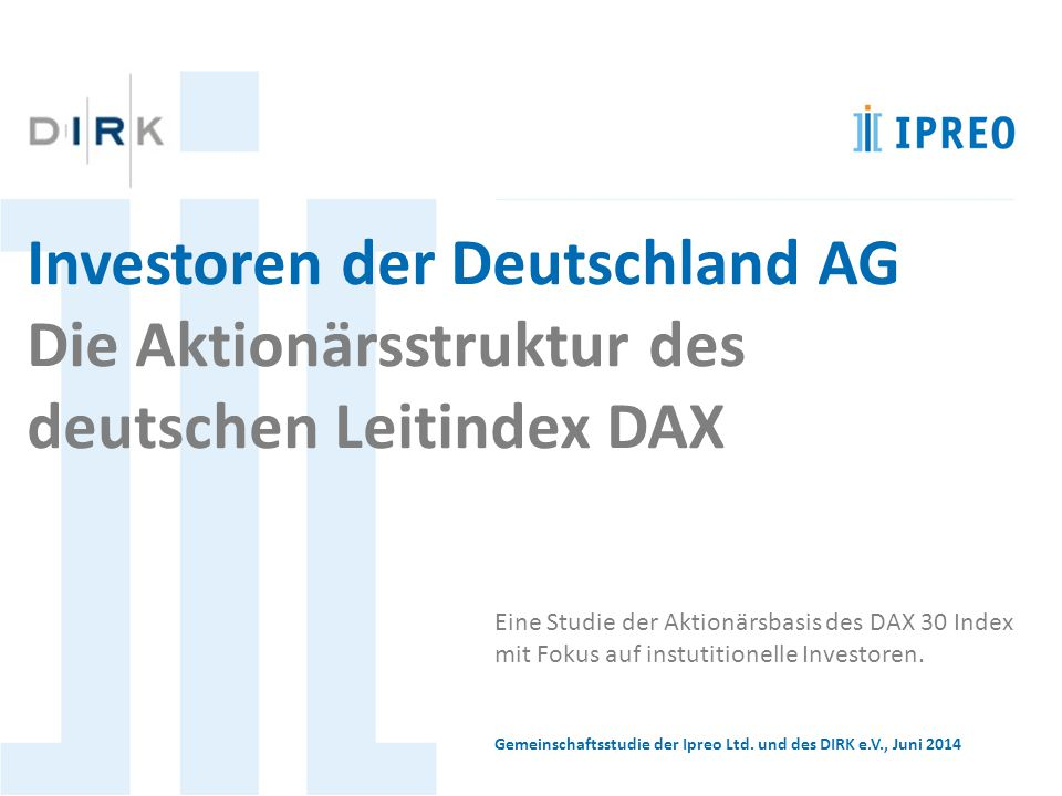 Investoren der Deutschland AG Die Aktionärsstruktur des
