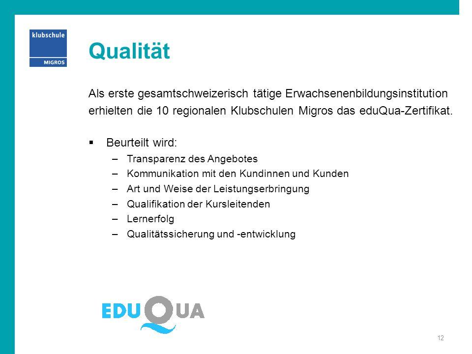 Qualität Als erste gesamtschweizerisch tätige Erwachsenenbildungsinstitution. erhielten die 10 regionalen Klubschulen Migros das eduQua-Zertifikat.
