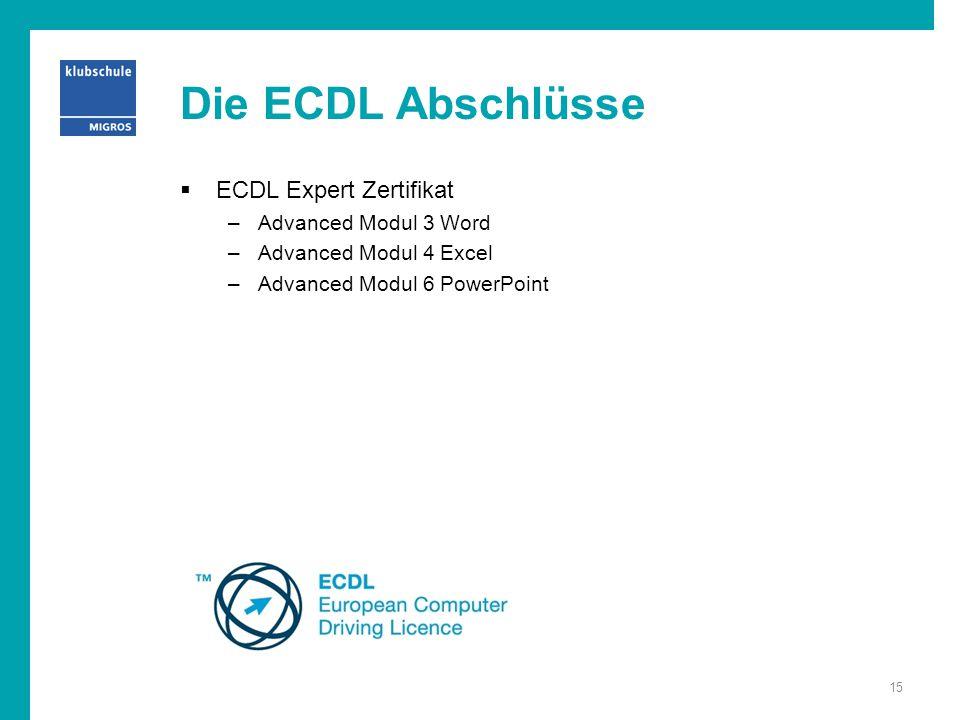 Die ECDL Abschlüsse ECDL Expert Zertifikat Advanced Modul 3 Word