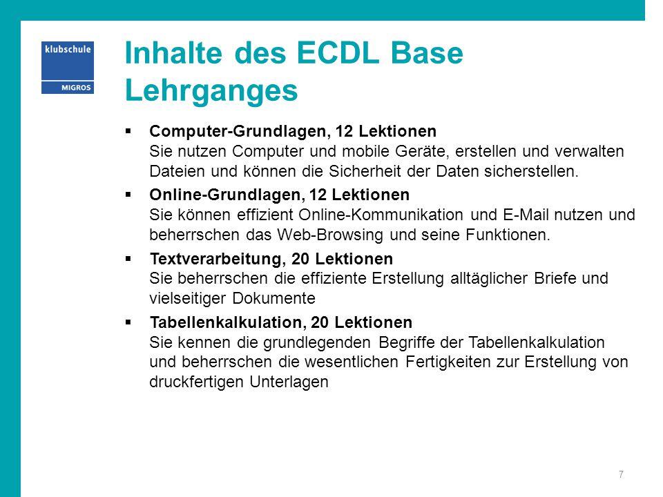 Inhalte des ECDL Base Lehrganges