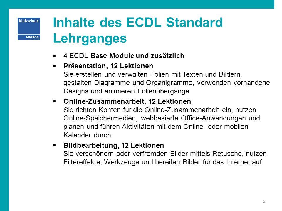 Inhalte des ECDL Standard Lehrganges