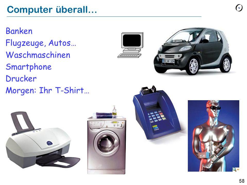 Computer überall… Banken Flugzeuge, Autos… Waschmaschinen Smartphone