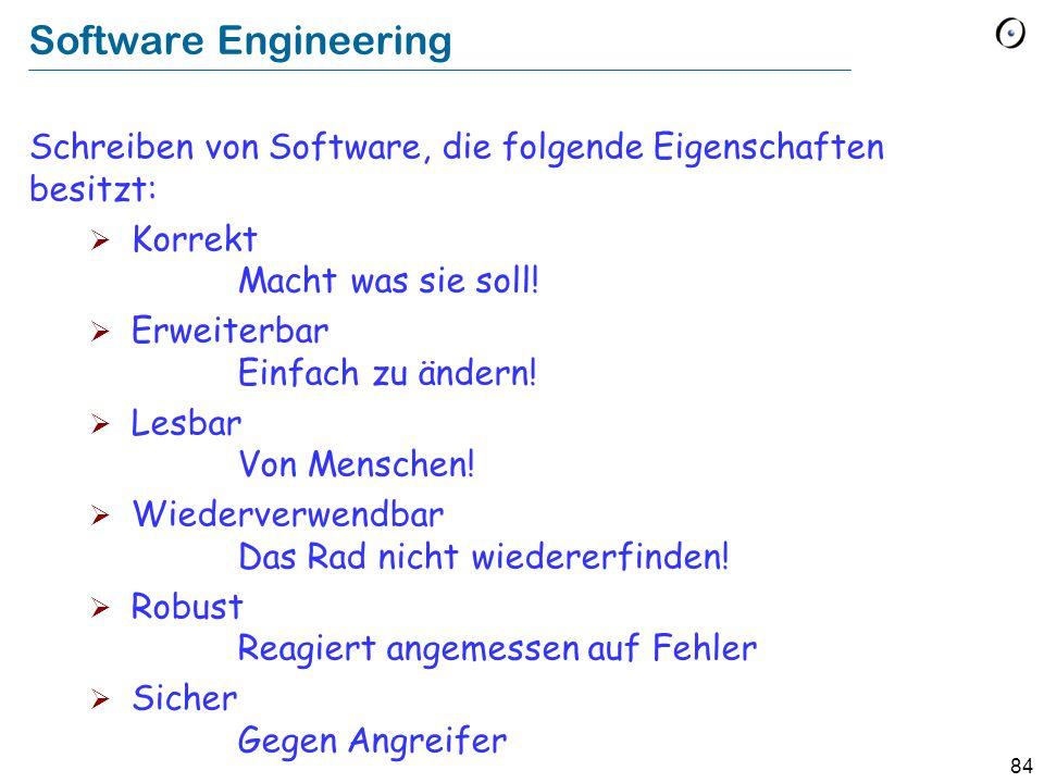 Software Engineering Schreiben von Software, die folgende Eigenschaften besitzt: Korrekt Macht was sie soll!