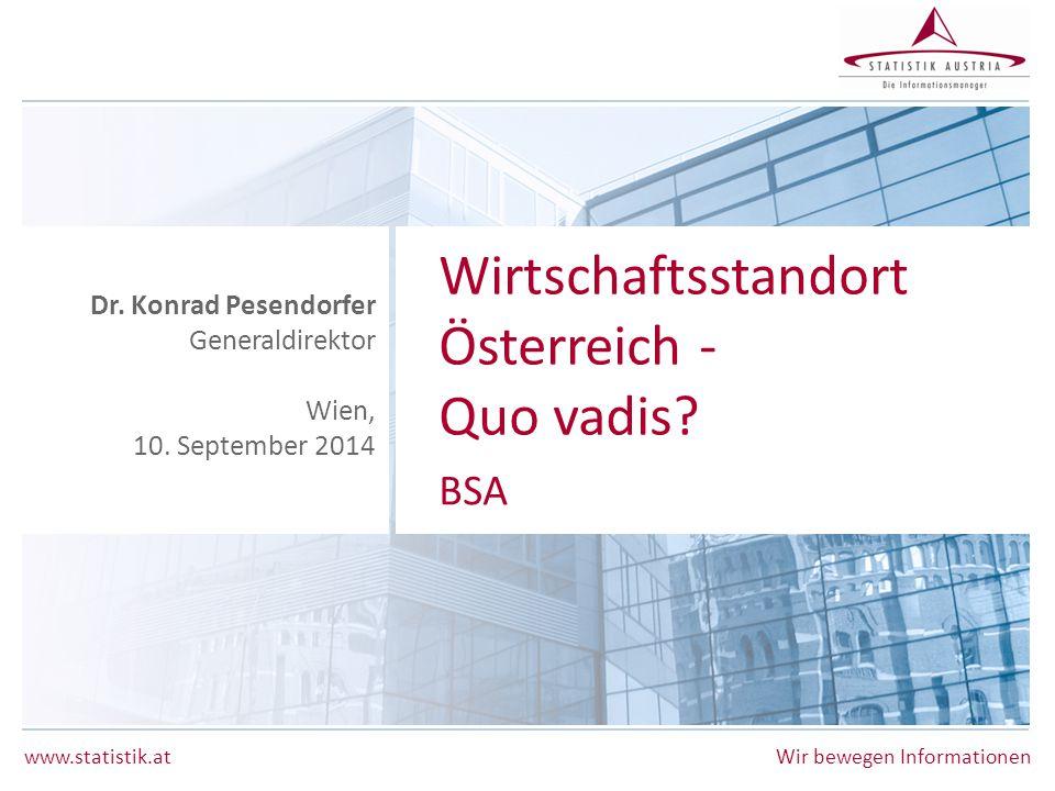 Wirtschaftsstandort Österreich - Quo vadis BSA Dr. Konrad Pesendorfer