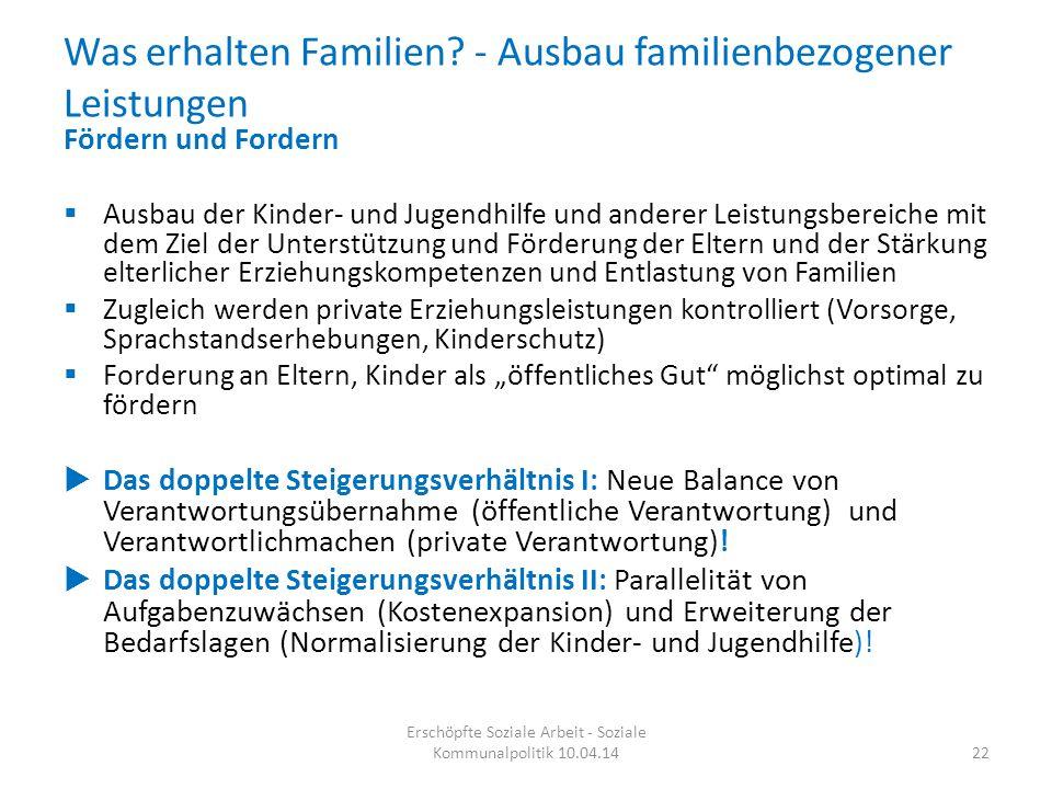 Was erhalten Familien - Ausbau familienbezogener Leistungen