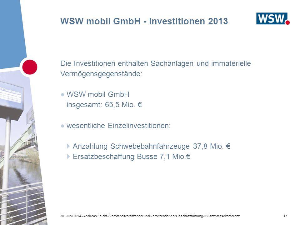 WSW mobil GmbH - Investitionen 2013